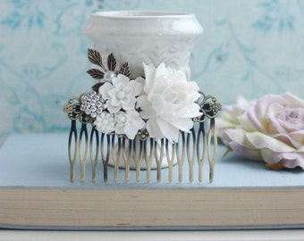 White Flowers Large Comb, Rose, Pearl, Rhinestone Diamente, Leaf Sprig Antiqued Brass Hair Comb. White Vintage Rustic, White Bridal Wedding