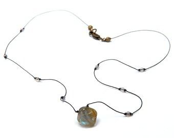 Labradorite Gemstone Choker Necklace with Small Gray Micro Beads