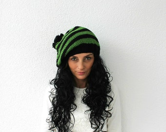 Womens Pom Pom Hat, Slouchy Beanie- Pom Pom Beanie-Knitted Hat- Womens Beanie- Beanie for Woman Black and Green Baggy Beanie Hat