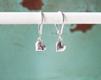Silver Heart Earrings, Sterling Silver Small Heart Dangle Earrings, Dainty Heart Jewelry, Dainty Friendship Jewelry, Gift Idea for Friend