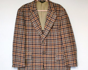 Coat Vintage Men's Sports Coat Plaid Blazer Checkered Jacket Rockabilly Howard Salesman's Wide Lapel Size 44 Regular