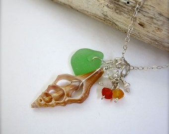 Beach glass and shell necklace, Green sea glass necklace with shells, ocean charm necklace, made in Hawaii, beach wedding jewelry