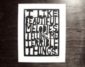 LINOCUT PRINT - Tom waits quote BLACK letterpress typography terrible things 8x10