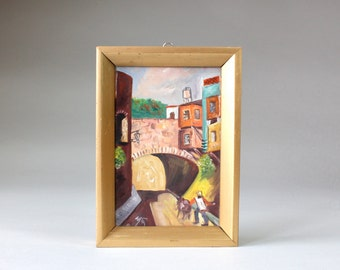 Vintage Small Painting Southwestern Village Scene Man with Donkey Colorful Buildings Artist Signed Framed