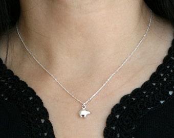 Sterling Silver Tiny Bear Necklace, Tiny Charm Necklace