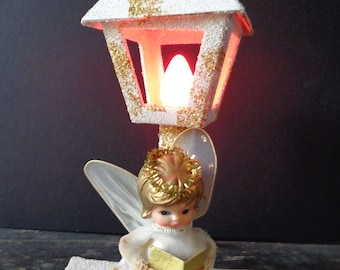 Lighted Christmas Angel, Vintage Christmas Decor, Vintage Angel