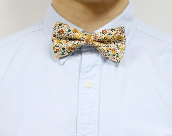 Molly - Honey Yellow Floral Men's Pre-Tied Bow Tie or Self-Tied Bow Tie