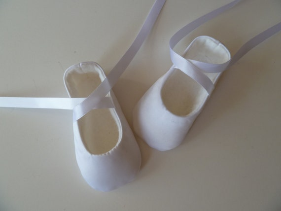 Baby Ballet Slippers . Baby Girl Shoes . Baby Ballerina . White Satin Christening Shoes . Classic Handmade Ballet Flats