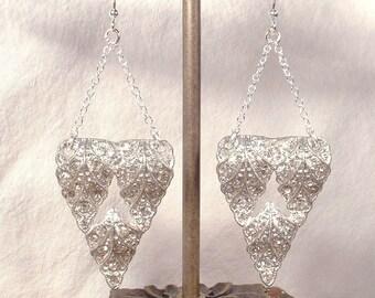 1920s Bridal Earrings, Sterling Silver Art Deco Crystal Rhinestone Leaf Dress Clip Dangle Earrings,Vintage Wedding Statement Downton Jewelry