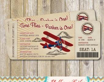 Vintage Airplane Boarding Pass Birthday Invitation- Vintage / Rustic / Airplane / Birthday Party