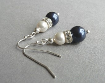 Navy Pearl and Crystal Earrings - Midnight Blue Bridesmaid Jewelry - Dark Blue and White Drop Earrings - Navy Blue Bridal Party Gifts