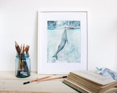 Heart of the Sea - Watercolor illustration print. Nautical, ocean themed. Whimsical, dreamy whale print.
