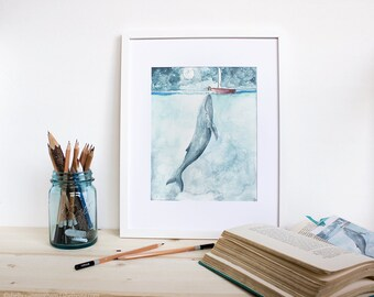 Heart of the Sea - Watercolor whale illustration print. Whale art, Beach decor, Whale nursery. Humpback whale.