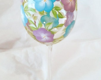 Hand Painted Wine Glasses, Teal and Purple Floral