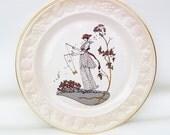 Vintage Royal Worcester Plate / Cabinet Plate / Wall Plaque - Art Nouveau Lady, Palissy Pattern - Diabolo
