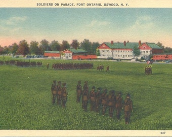 1940s Postcard Fort Ontario Oswego New York Soldiers on Parade
