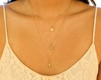 Long Layered Ocean Charm Necklace - Seashell, Starfish, & Seahorse Charms - Triple Layer Necklace - 14k Gold Fill - Set of 3 Necklaces