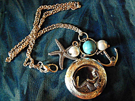 Silver Locket Necklace,  Mermaid,  With Pearls And Turquoise, Charms  Womens Gift