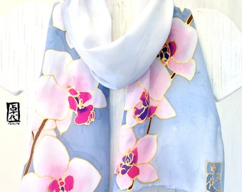 Scarf gift for wife, small silk scarf, Unique Handmade Scarves, Hand painted Silk scarf, Pink Orchids Grayish Blue, Takuyo, MADE TO ORDER