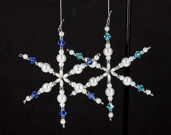 Snowflake Ornament Beaded Swarovski Crystal Birthstone Pearl Personalized Keepsake Christmas Holiday Winter Wedding Decor