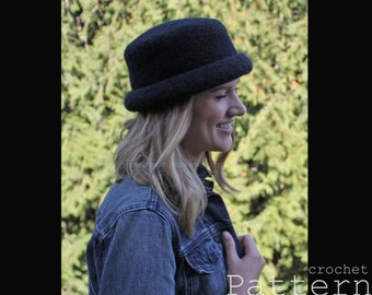 Crochet Felted Bowler Style Rolled Brim Hats - Easy PATTERN - PDF 1723