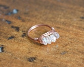 Iridescent Faceted Crystal Bead Wire Wrapped Ring Size 7 Copper Ring  Boho Jewelry Bohemian Ring Crystal Ring Delicate