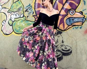 Pleated Floral Skirt, Silk Floral Skirt, High Waist, Pleated Midi Skirt, 50s Skirt, 50s Fashion, Designers Skirt