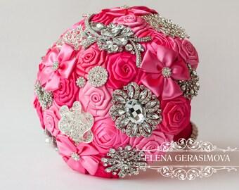 Brooch Bouquet. Hot pink fuchsia Fabric Bouquet, Unique Wedding Bridal Bouquet