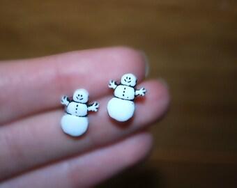 Snowman Earrings -- Snowman Studs, Tiny Snowman Studs, White Snowmen Earrings