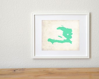 Haiti Personalized Country Map Art 8x10 Print. Haiti Island Map. Mission Map. Vacation Trip Map. Mission Gift. Graduation Gift.