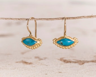 Gold Turquoise Earrings, 22k Gold Earrings, Turquoise Dangle Earrings, Gold Bezels Earrings, Yellow Gold Earrings,Yellow Gold Earrings