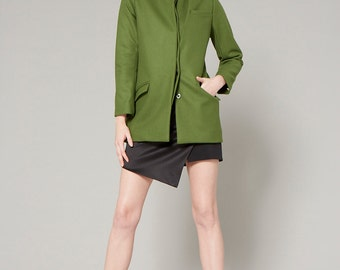 SALE 40% - Wool Funnel Neckline Green Coat with Layer Detail
