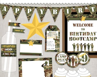 Birthday BootCamp Birthday Army DIY Party Printable Party Military event decor Customized PDF Digital Files