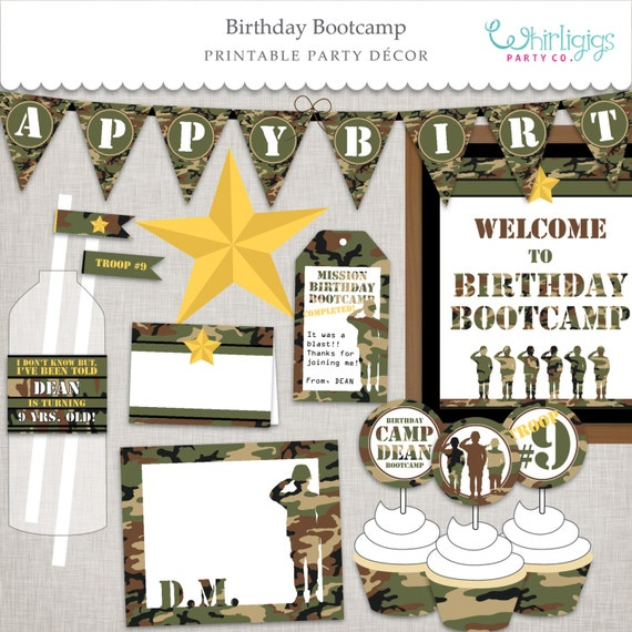 Birthday BootCamp Birthday Army DIY Party Printable Party