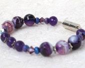 Handmade Purple Jade & Agate Bracelet