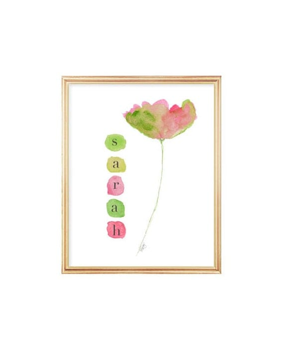 Pink and Green Flower Print for Girls with Custom Name, 8x10