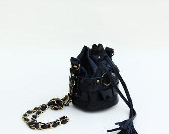mini leather bucket bag (black)