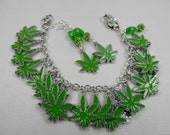 "Enameled Cannibas Leaf Charm Bracelet and Earrings Set in Silvertone with Lobster Clasp - Adjustable to 8"" Wrist"