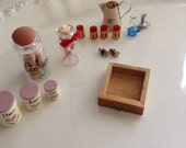 Miniature Doll House Items -Miniature Kitchen Items - Cookie Jar - Canisters - Miniature Red Glasses - Enamel Pot - Candy Jar - Candle