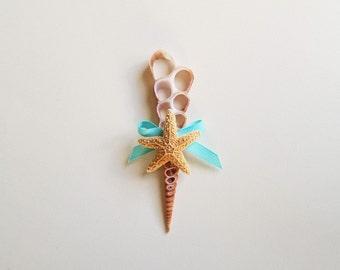 Kaikani's Sea Shell Boutonniere- Nautical Boutonniere-Mens Wedding Boutonniere-Beach Wedding-Grooms Accessories- Mermaid Wedding