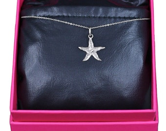 Starfish Necklace, Solid 14k White Gold