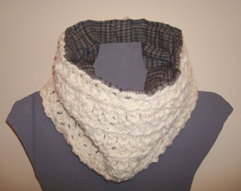 Cowl Scarf, Flannel Lined, Cream Yarn, Black Gray Plaid, Chunky Crochet Neck Warmer, Men or Women, Any Color Yarn, Custom MADE TO ORDER