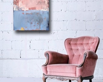 abstract painting - pink and blue - original oil - 18x24 - 'Corner Cafe' - FREE US SHIPPING
