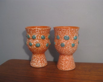 Midcentury Italian Art Pottery Pair Orange Turquoise Dot Ceramic Vases Candleholders Goblets