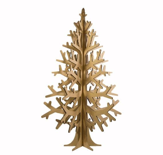 Recycled brown cardboard laser-cut modern christmas tree 132cm