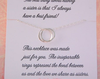 SET OF TWO Sister necklaces, Two sister necklaces, for sisters, matching sister gifts, sister jewelry
