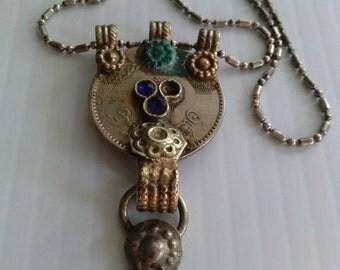 necklace antique Italian sterling ooak silver pendant mystic handmade art 925 medallion