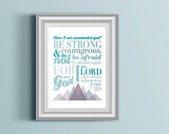 Joshua 1:9 Digital Print - Original Illustration