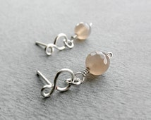 Faceted Sunstone Free-formed Stud Earrings, Sterling Silver, Copper, gemstone, Solar Plexus, Sacral Chakra, simple, small posts, gold, bride