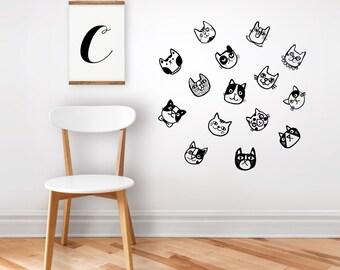 Wall decal / wall sticker cats / home decor / nursery decor / removable sticker